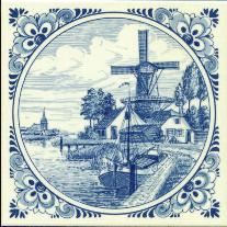 Tile # 052 Delft Blue Windmill with docked boat in circle