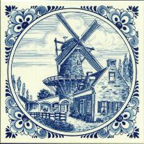 Tile # 054 Delft Blue Windmill with houses in circle