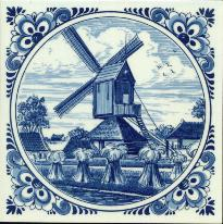Tile # 055 Delft Blue Windmill with wheat in circle