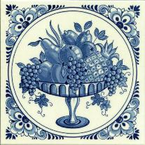 Tile # 057 Delft Blue Fruitbowl in circle