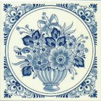Tile # 058 Delft Blue Flowers with bow in circle