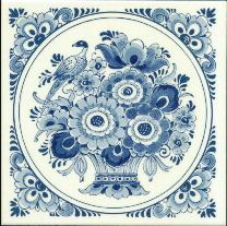 Tile # 060 Delft Blue Flowers with bird in circle