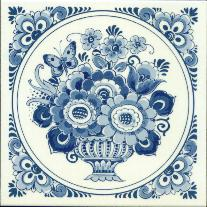 Tile # 061 Delft Blue Flowers with butterfly in circle