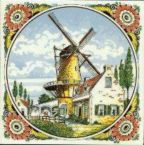 Tile # 066 Delft Poly Windmill with houses in circle
