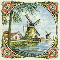 Tile # 068 Delft Poly Windmill with tree in circle