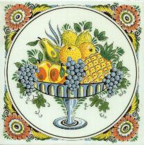 Tile # 069 Delft Poly Fruitbowl in circle
