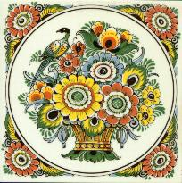 Tile # 071 Delft Poly Flowers with bird in circle