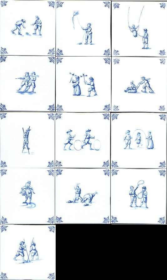 5 inch Children Playing Tile-Blue-Price each.