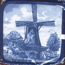 Pot Holder -- Blue Windmill set of 2