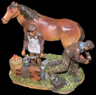 Blacksmith Shoeing a Horse 5 inch figure