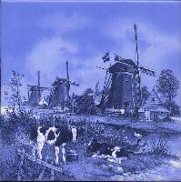 Tile #022 Windmill with Calves Blue Measures 6 X 6 inches