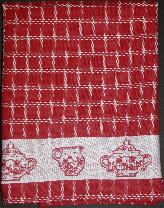 Tea Towel - Red with Sugar Bowl and Creamer