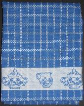 Tea Towel - Blue with Sugar Bowl and Creamer