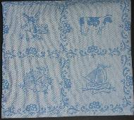 Tea Towel - Blue with Ship-Cow-Windmill-Flower