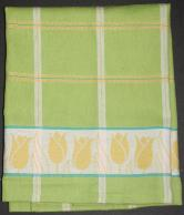 Tea Towel - Green with yellow tulips.