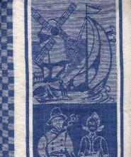 Tea Towel Blue w/ Sailboat and People