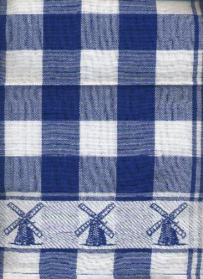 Tea Towel -- Blue and White with Windmill Border
