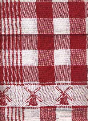Tea Towel -- Red and White with Windmill Border