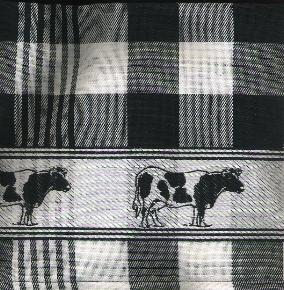 Tea Towel -- Black and White with Cow Border -- 65X60cm