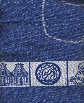 Tea Towel -- Blue with Pretty Dutch Border -- 65X60cm