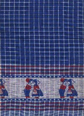 Tea Towel -- Blue, Red and White with Kissing Couple Border