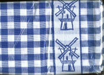 Tea Towel Blue Windmill 24 Inches Square.