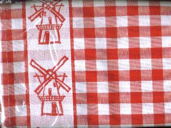 Tea Towel Red with Windmills 60 X 65cm 100% Cotton