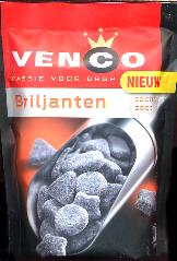 Venco Briljanten -- Diamond Shaped Sweet Licorice 233g Bag