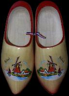 Klompen Wooden Shoes Painted Red 22cm 34