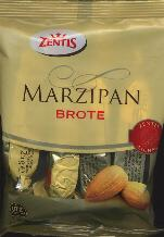 Zentis Brote Marzipan Bag of 4 25g Bars, Total 100g