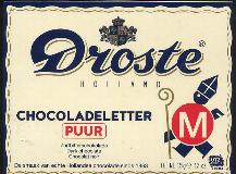 Large M -- Droste DARK Chocolate Letter Large  M -- 135g