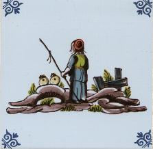 Westraven Polychrome Tile 5 inch with a Shepherd Scene Handpaint