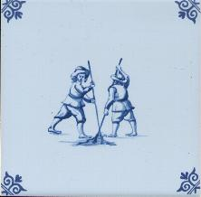 Westraven Tile 5 inch with Delft Blue Children Playing A