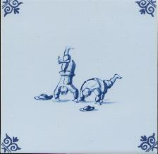 Westraven Tile 5 inch with Delft Blue Children Playing B