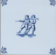 Westraven Tile 5 inch with Delft Blue Children Playing C