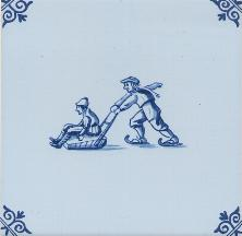 Westraven Tile 5 inch with Delft Blue Children Playing E