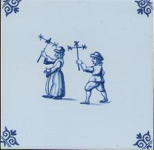 Westraven Tile 5 inch with Delft Blue Children Playing F