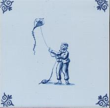 Westraven Tile 5 inch with Delft Blue Children Playing G