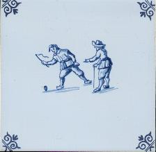 Westraven Tile 5 inch with Delft Blue Children Playing H