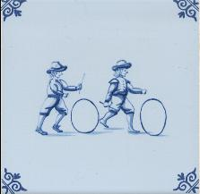 Westraven Tile 5 inch with Delft Blue Children Playing I