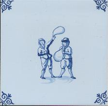 Westraven Tile 5 inch with Delft Blue Children Playing J