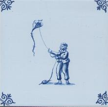 Westraven Tile 5 inch with Delft Blue Children Playing K
