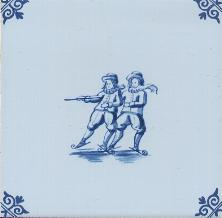 Westraven Tile 5 inch with Delft Blue Children Playing L