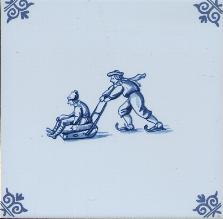 Westraven Tile 5 inch with Delft Blue Children Playing M