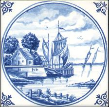Westraven Tile 5 inch with Delft Blue Landscapes in Circle A