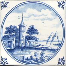 Westraven Tile 5 inch with Delft Blue Landscapes in Circle B