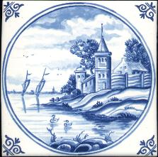 Westraven Tile 5 inch with Delft Blue Landscapes in Circle C