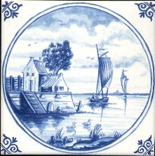 Westraven Tile 5 inch with Delft Blue Landscapes in Circle D