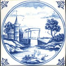 Westraven Tile 5 inch with Delft Blue Landscapes in Circle E