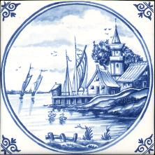 Westraven Tile 5 inch with Delft Blue Landscapes in Circle F